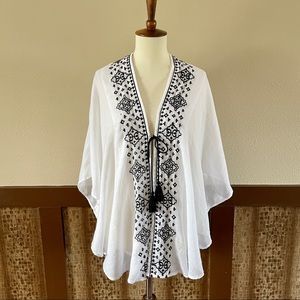 Steve Madden Embroidered Tie-Front Kimono Top - OS